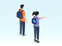 Isometric illustration for education