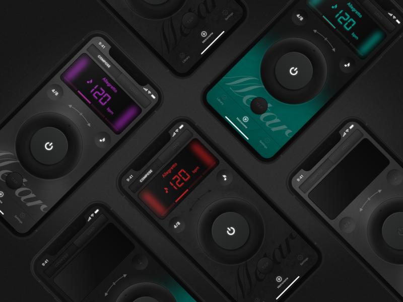 Metronome App knobs controls audio skin music app app skeuomorphism neomorphism dark ui