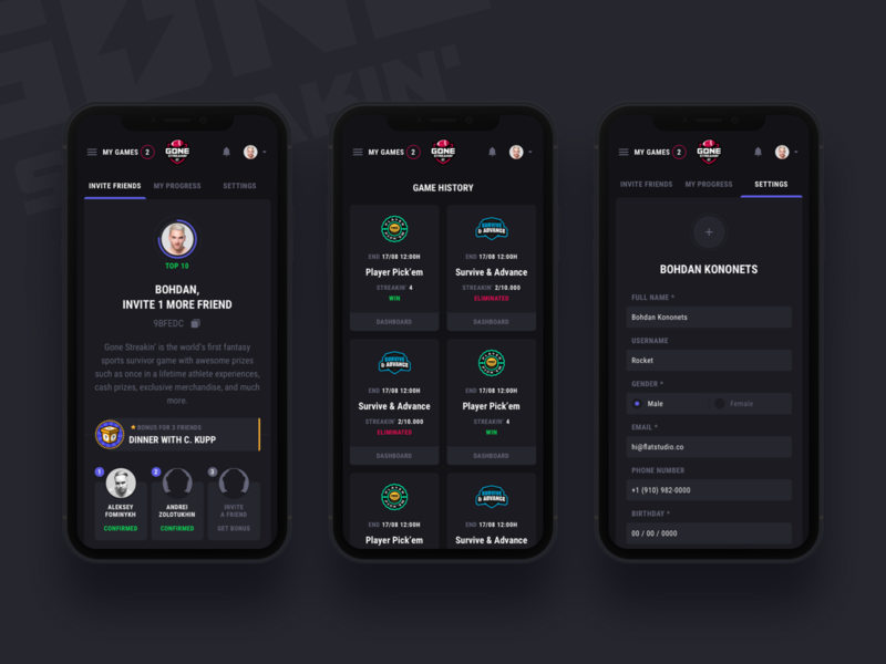 Gone Streakin: Profile mobile user settings inputs form cards progress profile invite gambling design fantasy sports dark betting bet game bet account