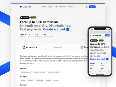 Betmaster: Partners landing simple clean website b2b business partners marketing light affiliate betmaster betting single landing page
