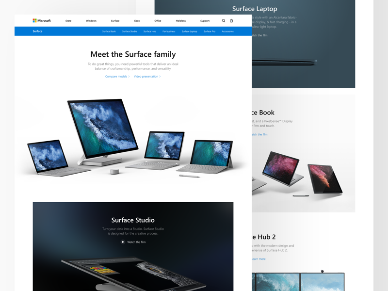 Microsoft: Surface Family concept redesign landing microsoft surface studio laptop hub surface hub family