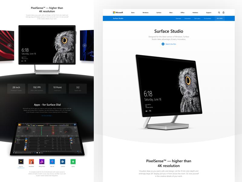 Microsoft: Surface Studio concept redesign landing microsoft surface studio surface windows