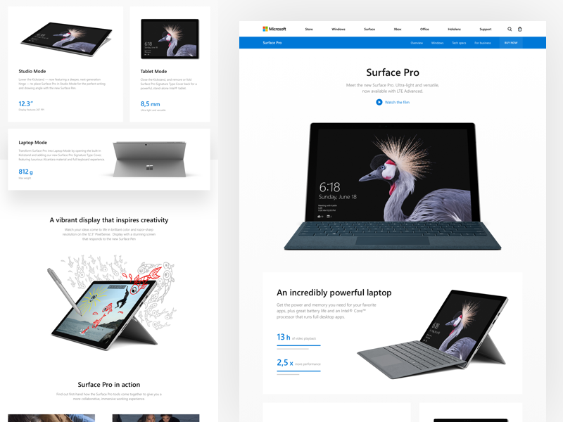 Microsoft: Surface Pro concept redesign landing microsoft surface pro surface tablet