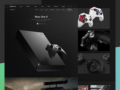 Microsoft: Xbox One X concept redesign landing microsoft xbox one x dark black game