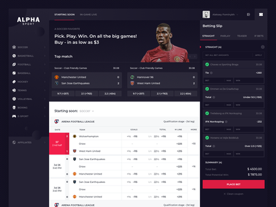 Alpha Sport: Main page alpha main page sport sportbook gambling dark interface dark design bettings bets grid bet