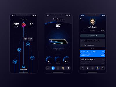 Middle-earth Hyperloop: Trip information travel ui tournament alarm profile speed capsule status ticket trip hyperloop future hobbit frodo beggins dark app