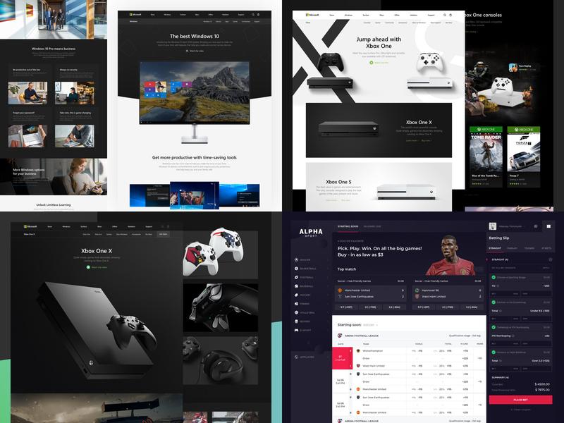Top 4 of 2018 redesign microsoft landing dark kit alpha windows xbox betting 2018 simple concept ui grid sport book web clean