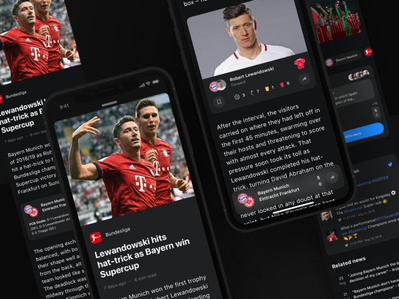 Rewind: Article product interface ios light bundesliga dark bet widget ui ux simple clean app sport sport book betting football article
