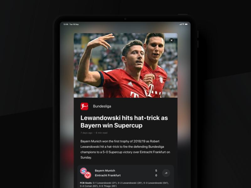 Rewind: Article (iPad version) widget ux ui sport book sport simple product light ipad ios interface football dark clean bundesliga betting bet article app