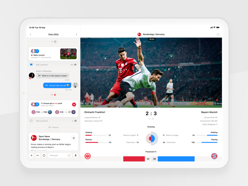 Rewind: Live match (iPad version) ux ui sport book sport app dark light ipad ios interface tv statistics bundesliga chat bot chat match live football betting bet app