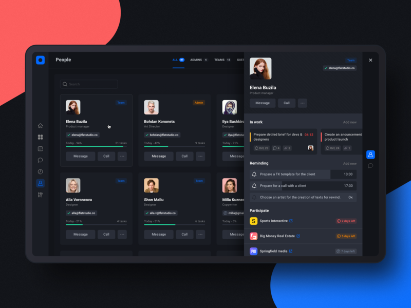 Project management tool: Employee profile progress employee manager dark ui reminding task card profile task app product design team project management tool dashboad