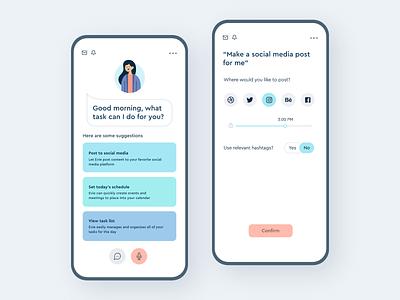 Virtual Assistant App daily ui product design assistant card minimal illustration adobe xd visual design ux mobile clean colors app ui design