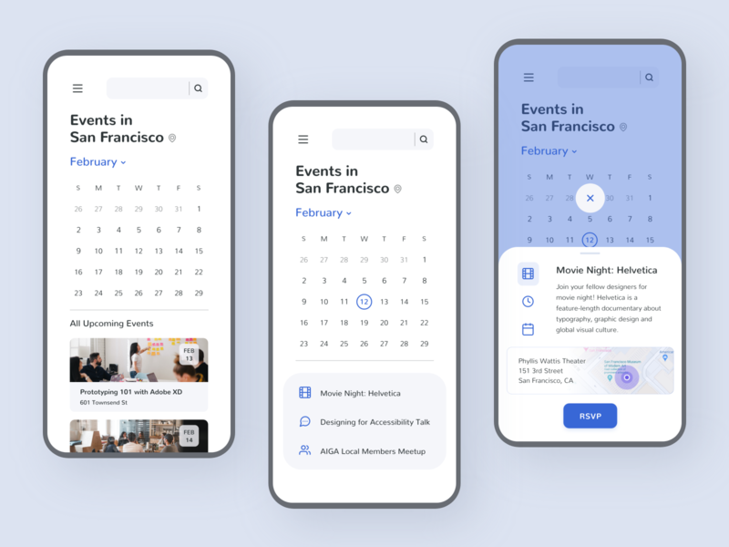 Designer Meetup App challenge daily ui card android product design calendar events event app trends ios minimal adobe xd visual design ux clean mobile colors app ui design