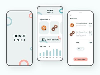 🍩 Donut Truck App figma android ios minimal adobe xd visual design ux clean mobile colors app ui design