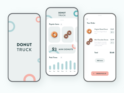 🍩 Donut Truck App figma android ios minimal adobe xd visual design ux clean mobile colors app ui design