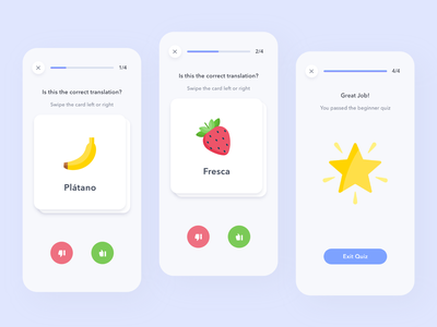 Language Learning App swipe card daily challenge learning android ios minimal adobe xd ux clean mobile colors app ui design