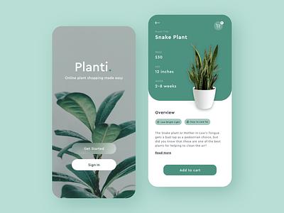 Planti: Online Plant Store login design login online plants mobile ui iphone mobile app application xd adobe xd clean mobile ux colors app ui