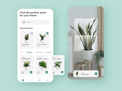 Planti: Online Plant Store card ecommerce mobile app design virtual reality mobile apps mobile app e-commerce color clean minimal ios adobe xd ux ui design app design app