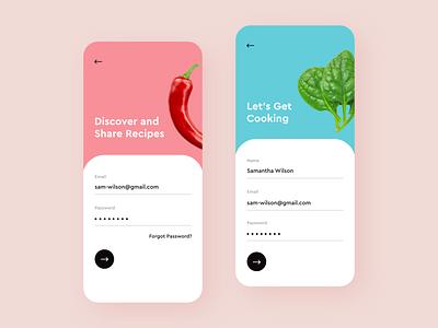 Recipe Sharing App android iphone colors clean adobe xd sharing app design mobile app mobile ios social food recipe app ux ui design