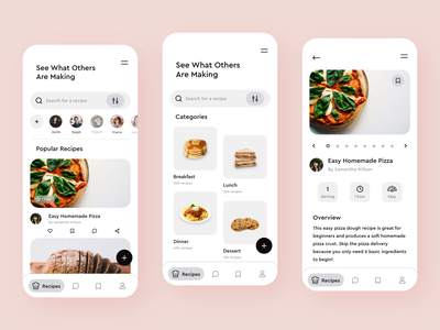 Recipe Sharing App social interface cooking cook icons recipe mobile app design minimal adobe xd mobile clean colors ux app ui