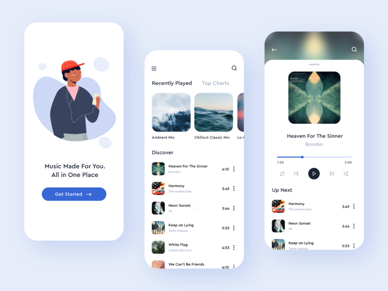 Personalized Music Player 🎵 concept application interface creative figma apple music player music android ios minimal adobe xd mobile clean colors ux app ui design