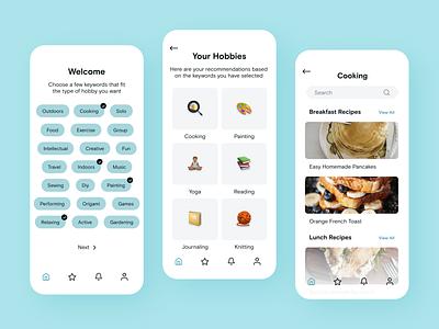 Hobby Randomizer App android ios mobile app adobe xd mobile colors clean ux app ui design