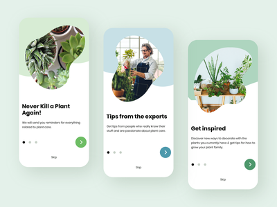 🌱 Plant Care App Onboarding screens plants plant app adobe xd colors clean ux app ui design