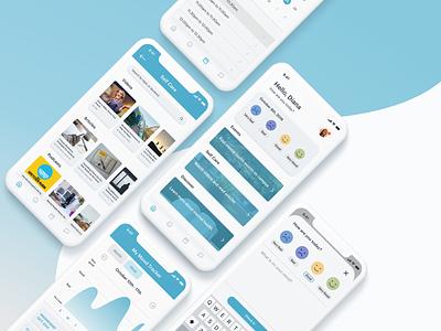 Mental Health App for Students navigation case study 2019 adobe xd visual design college students mood tracker mental health ux mobile illustration ui app design