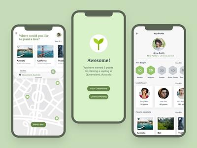 Plant a Tree App 🌳 ux minimalist product design plant visual design clean eco colors ui design