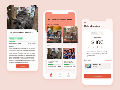 Charity Donation App creative adobe xd donate minimalist mobile clean visual design ux app ui design