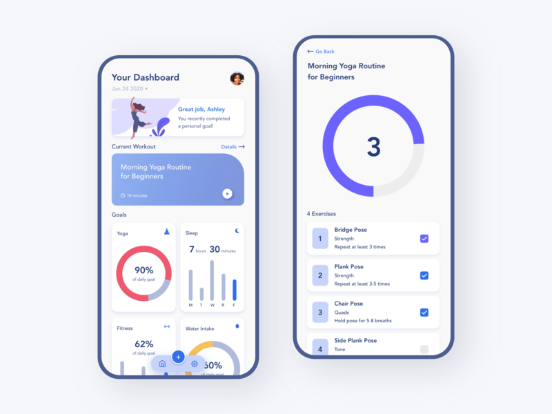 Workout Checklist for Fitness App colors 2020 clean fitness app dribbble fitness minimal mobile ui adobe xd illustration mobile app app design