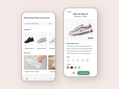 Shoe E-Commerce App ios visual design clean ux ui mobile ui mobile design mobile minimal design app