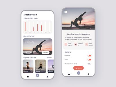 Yoga Tracker App ios 2020 adobe xd tracker fitness yoga iphone ux ui clean minimal mobile design app android