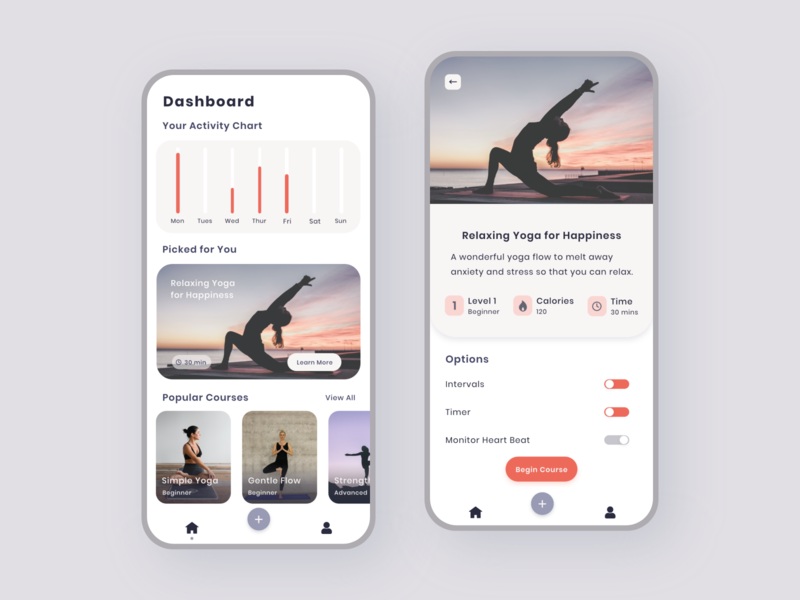 Yoga Tracker App ios 2020 adobe xd tracker fitness yoga iphone ux ui clean minimal mobile design app android