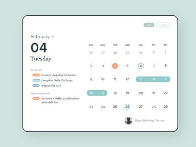 Calendar App Concept tablet typography web ux page home calendar adobe xd minimal clean colors app ui design