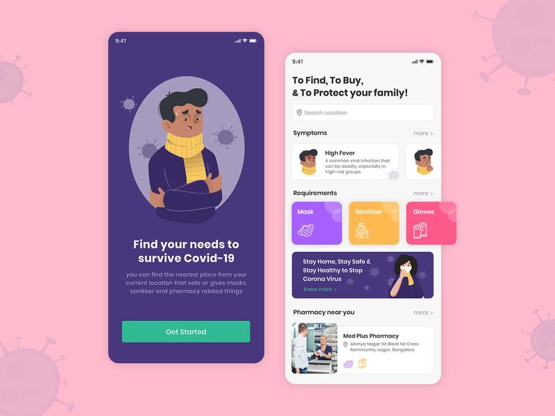 Covid-19 App mobile app android ios ui design app ui  ux uiux ui covid covid19