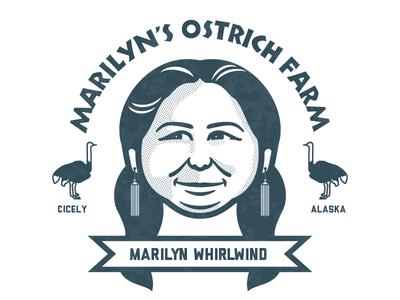 Marilyn Whilrwind vector northern exposure marilyn whirlwind badge logo illustrator illustration badgedesign badge alaska