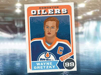 Wayne Gretzky trading card vector sports art sports wayne gretzky edmonton oilers national hockey league nhl illustrator illustration design hockey art hockey