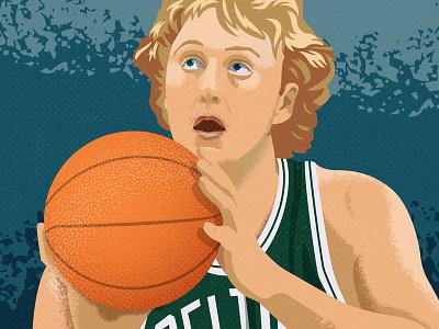 Larry Bird nba celtics boston boston celtics larry bird basketball sports vector illustration illustrator
