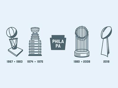 Philly 4 For 4 illustration trophies world series stanley cup super bowl philadelphia eagles eagles philadelphia sports