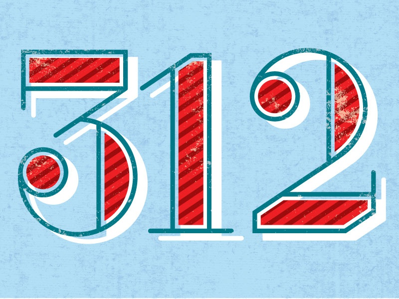 312 illustration typography numbers lettering chicago 312