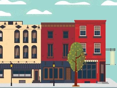 Neighborhood architecture cityscape vector illustration illustrator neighborhood house building town city