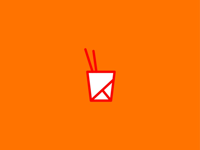 take out chopsticks food truck chinese food take out illustration minimal lines symbol simple mark icon logo