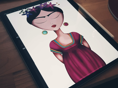 Frida hand drawn frida kahlo frida procreate ipad illustration drawing