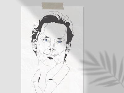 White Collar matt bomer linear lineart linework line portrait throwback neal caffrey fanart series white collar poster ink illustration vector drawing