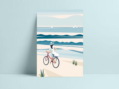Seaside poster illustration drawing summertime summer poster design procreate seaside poster