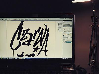Czarna Łajza tag graffiti vector wip t-shirt design typography