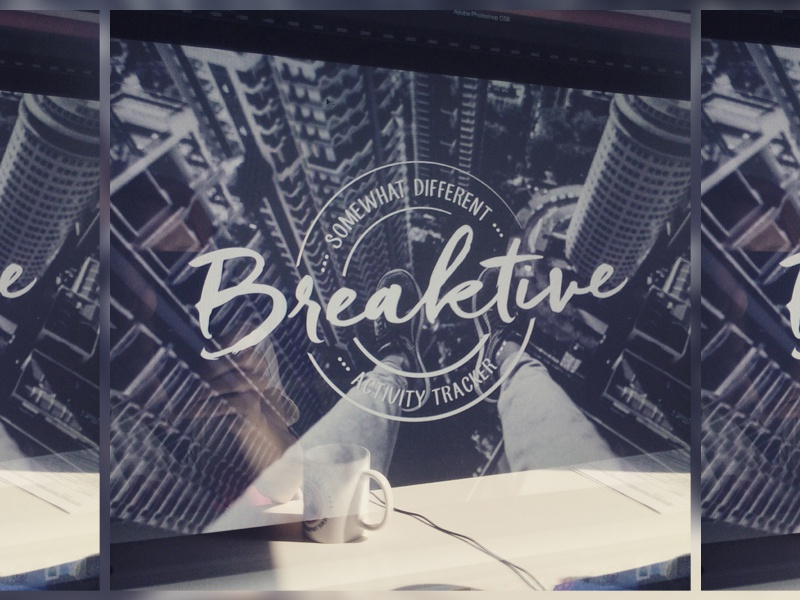 Breaktive - logo design badge typography wip app logo