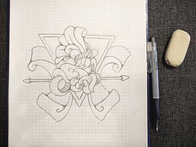 Warsaw Skate Crew roller skating design t-shirt pencil sketch