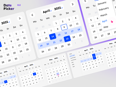 Date Picker 0.2 dates ui double-view calendar presets range variants figma date date picker